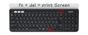logicoolのキーボードK780でプリントスクリーンをとる方法
