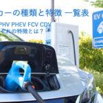 【図解】EV、HV、PHV、FCV エコカーの種類と違いが一目でわかる比較表